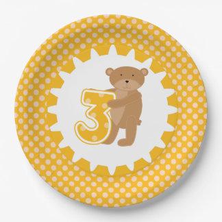 Placas de papel del 3ro cumpleaños del oso de plato de papel de 9 pulgadas
