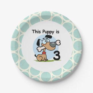 Placas de papel del 3ro cumpleaños del perrito plato de papel de 7 pulgadas