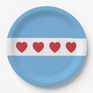 Placas de papel del amor de Chicago Plato De Papel De 9 Pulgadas
