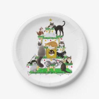 Placas de papel del árbol del gato del navidad plato de papel de 7 pulgadas