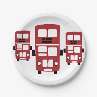 Placas de papel del autobús rojo del autobús de plato de papel de 7 pulgadas