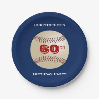 Placas de papel del béisbol, 60.a fiesta de plato de papel de 7 pulgadas