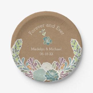 Placas de papel del boda de encargo de los plato de papel 17,78 cm