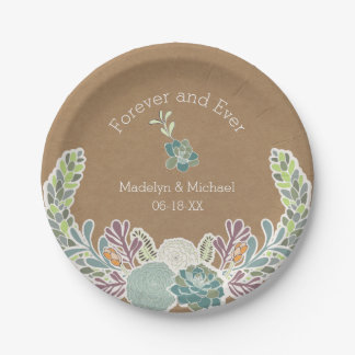 Placas de papel del boda de encargo de los plato de papel de 7 pulgadas