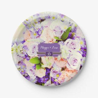 Placas de papel del boda floral de encargo platos de papel