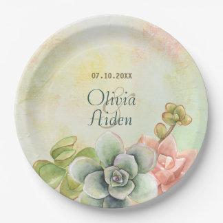 Placas de papel del boda floral suculento de la plato de papel de 9 pulgadas