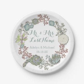 Placas de papel del boda suculento floral de plato de papel de 7 pulgadas