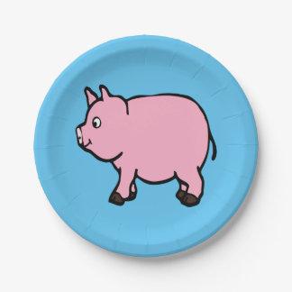 "Placas de papel del cerdo rosado 7"" platos de papel"