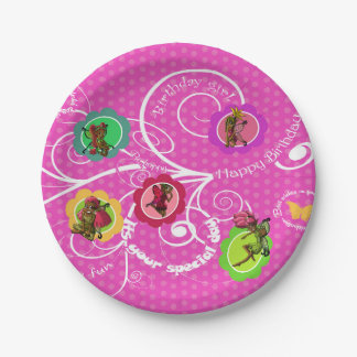 Placas de papel del chica de hadas del cumpleaños plato de papel 17,78 cm