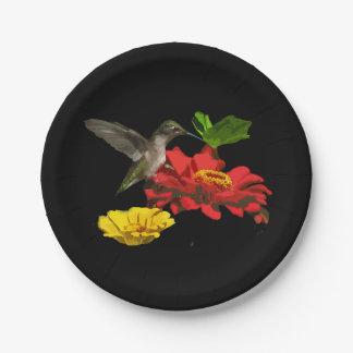 Placas de papel del colibrí y de los Zinnias Platos De Papel
