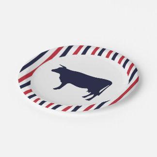 Placas de papel del cortijo de la vaca platos de papel
