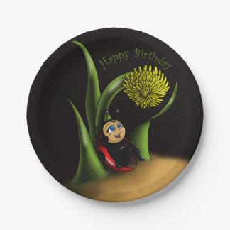 Placas de papel del cumpleaños de la mariquita plato de papel de 7 pulgadas