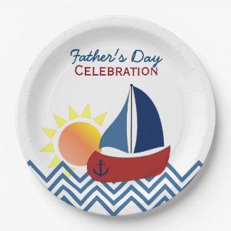 Placas de papel del día de padre del velero platos de papel