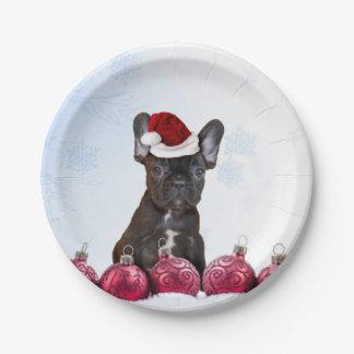 Placas de papel del dogo francés del navidad platos de papel