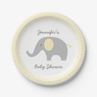 Placas de papel del elefante amarillo de Chevron Platos De Papel