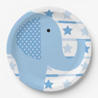 Placas de papel del elefante azul platos de papel