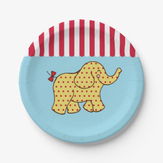 Placas de papel del elefante de la tienda de circo plato de papel de 7 pulgadas