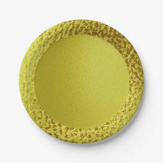 Placas de papel del falso oro del lemom plato de papel de 7 pulgadas