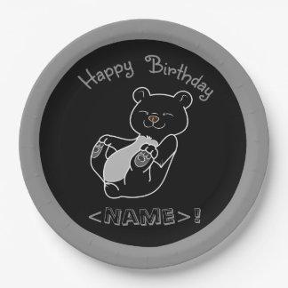 Placas de papel del feliz cumpleaños del oso negro plato de papel de 9 pulgadas