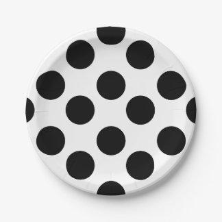 Placas de papel del lunar blanco y negro plato de papel de 7 pulgadas