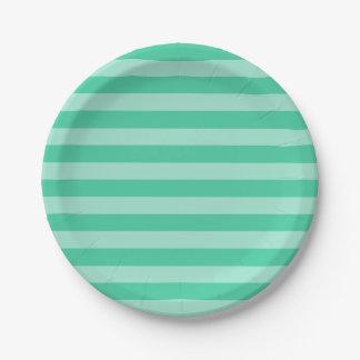 Placas de papel del modelo de la raya de la verde plato de papel de 7 pulgadas