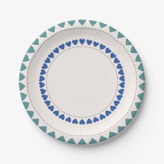 Placas de papel del modelo redondo azulverde del plato de papel 17,78 cm