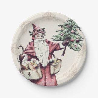 Placas de papel del navidad de Santa del vintage Plato De Papel De 7 Pulgadas