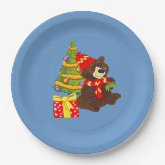 Placas de papel del navidad del oso de peluche de plato de papel de 9 pulgadas