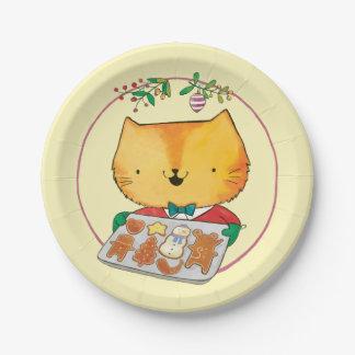 Placas de papel del navidad lindo del gato platos de papel