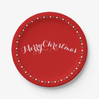 Placas de papel del navidad rojo, blanco y verde
