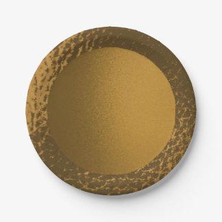 Placas de papel del oro de la imitación de cuero plato de papel de 7 pulgadas