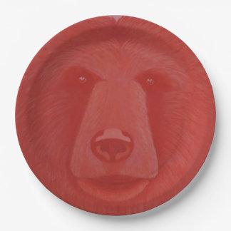 Placas de papel del oso bermellón platos de papel