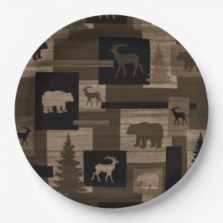 Placas de papel del oso del modelo de madera plato de papel de 9 pulgadas