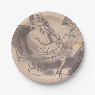 Placas de papel del papá del periódico del vintage plato de papel de 7 pulgadas