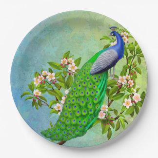 Placas de papel del pavo real azul indio exótico plato de papel
