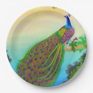 Placas de papel del pavo real indio azul exótico plato de papel de 9 pulgadas