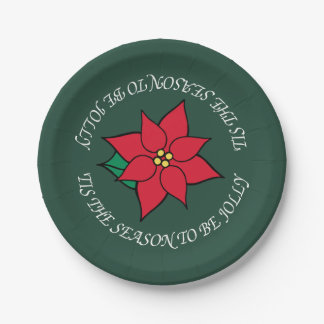 Placas de papel del Poinsettia alegre Platos De Papel