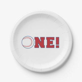 Placas de papel del primer cumpleaños del béisbol platos de papel