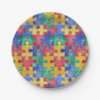 Placas de papel del rompecabezas de la conciencia plato de papel de 7 pulgadas