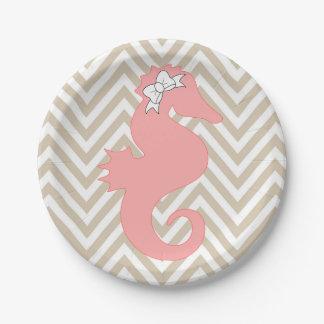 Placas de papel del Seahorse del tema rosado de la Plato De Papel De 7 Pulgadas