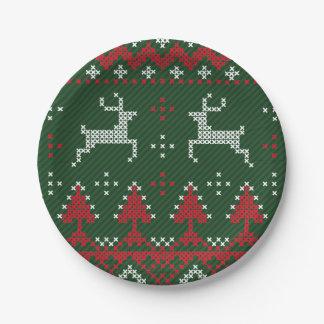 Placas de papel del suéter feo divertido del plato de papel de 7 pulgadas