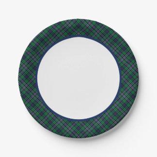 Placas de papel del tartán nacional escocés plato de papel de 7 pulgadas