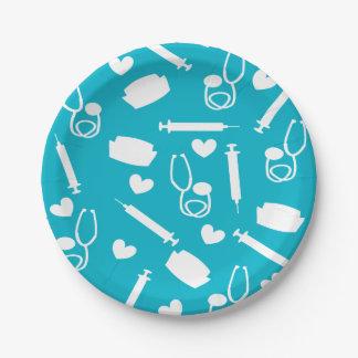 Placas de papel del tema bonito de la enfermera platos de papel
