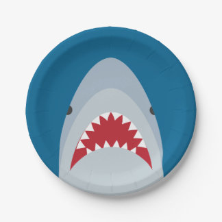 Placas de papel del tiburón plato de papel de 7 pulgadas