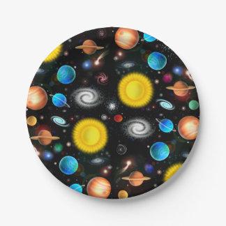 Placas de papel del universo del espacio colorido platos de papel
