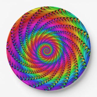Placas de papel espirales del arco iris plato de papel