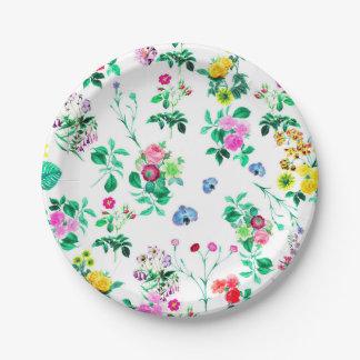 Placas de papel florales magníficas plato de papel de 7 pulgadas