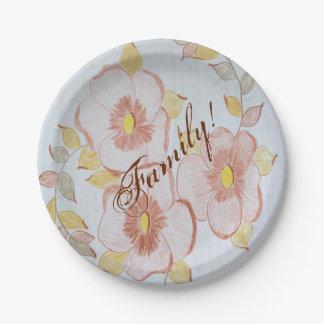 Placas de papel florales plato de papel de 7 pulgadas