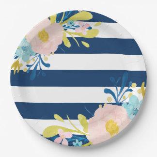 Placas de papel florales rayadas de la marina de platos de papel