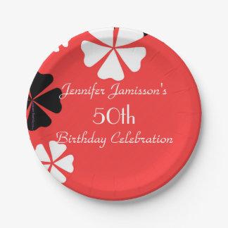 Placas de papel florales rojas, 50.a fiesta de plato de papel 17,78 cm